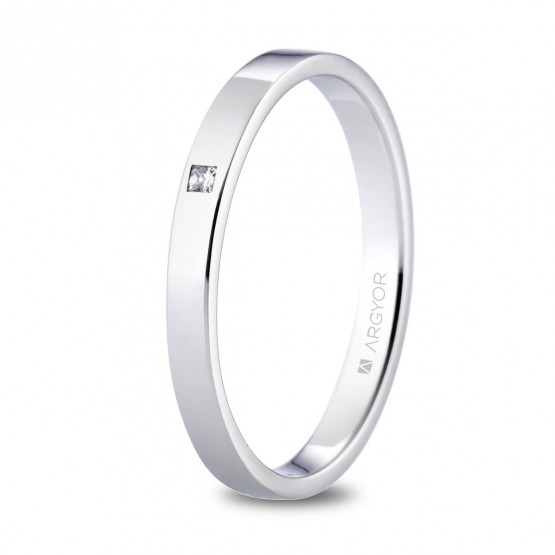 Alianza de platino plana y diamante princesa 2.5mm (05930125P)