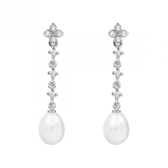 Pendientes de novia en oro blanco de18k y perlas (79B0103TE1) 1