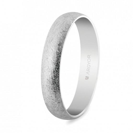 Alianza de boda oro blanco efecto hielo 4mm (5B405H)