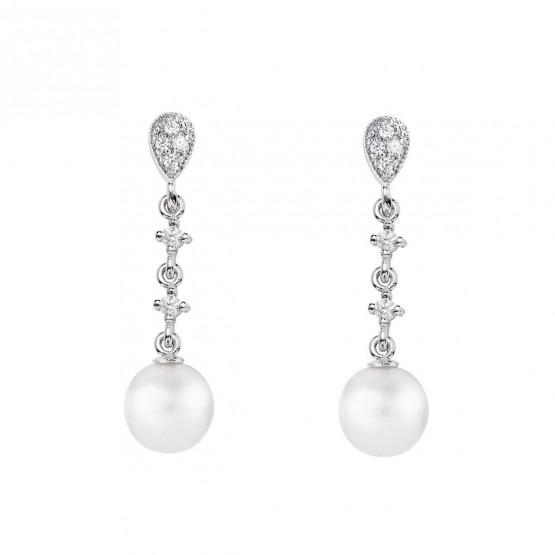 Pendientes de novia en oro blanco de18k con perlas (79B0202TD1) 1