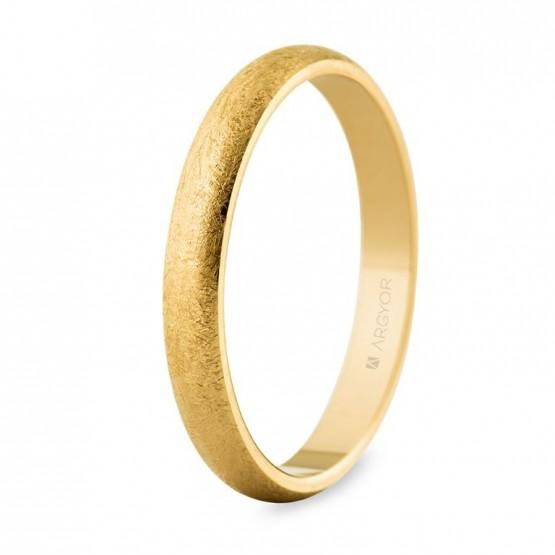 Alianza de boda de oro amarillo 3mm efecto hielo (50306H)