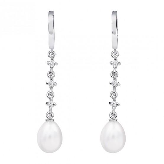 Pendientes de novia en plata y topacios con perlas (79B0303TE1) 1
