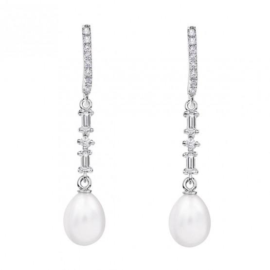 Pendientes de novia plata con topacios y perla (79B0506TE1) 1