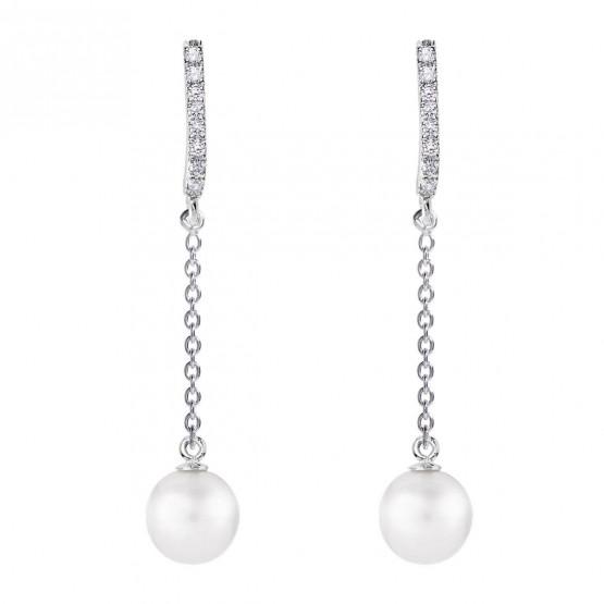Pendientes de novia en plata y topacios con diseño cadena (79B0507TD1) 1