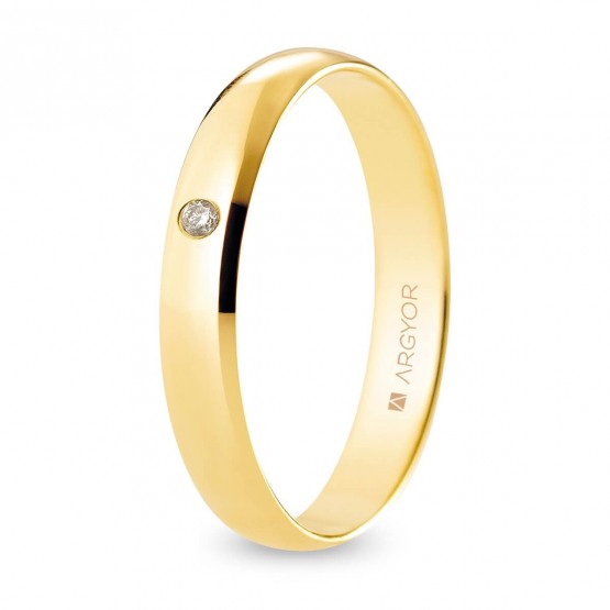 Alianza de boda oro y diamante media caña 3,5 mm confort (A35CP1D)