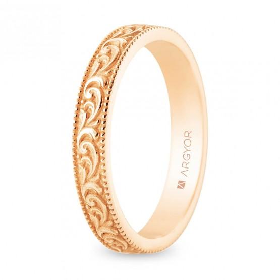 Alianza de boda romántica oro rosa 18k  (5R30552)