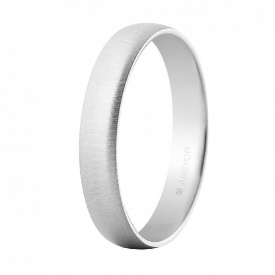 Alianza oro blanco 4mm texturizada confort (564B001T)