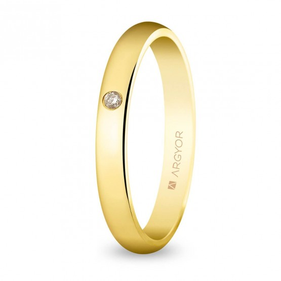 Alianza boda oro clásica diamante acabado brillo 3mm (50306D)