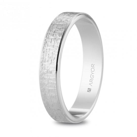 0338304a0faf Alianza de oro blanco 18k texturizada 4 mm (5B40528)