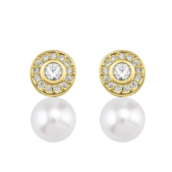 Pendientes de Diamantes roseta con perlas (75A0104P)