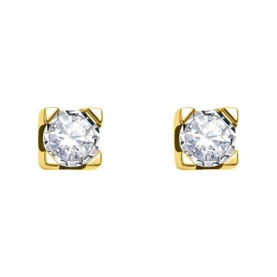 Pendientes de novia oro amarillo con 2 diamantes (75A0500)
