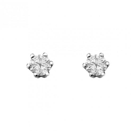 Pendientes de novia oro blanco con 2 diamantes (75B0002)