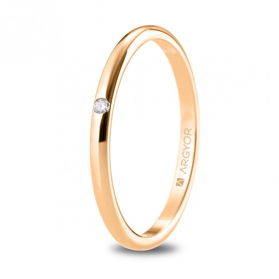 Alianza de boda de oro rosa con diamante brillante (5R18529D)