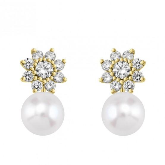 Pendientes de Diamantes Flor con perlas (75A0105P)