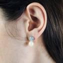 Pendientes de oro blanco con Diamantes y perlas (75B0104P)