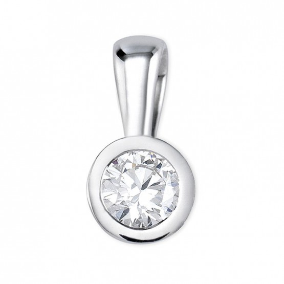 Colgante oro blanco con 1 diamante en chatón (75B0005)