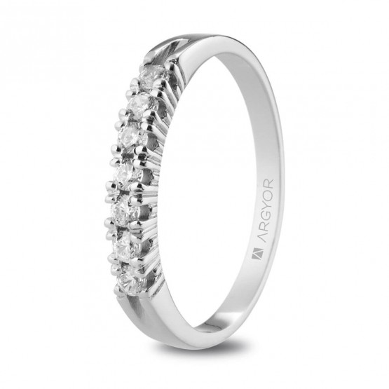 Anillo de Compromiso blanco con 7 diamantes 0.21ct (74B0113)