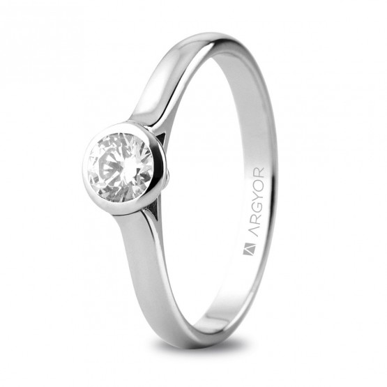 Anillo de platino con 1 diamante 0,34ct (74B0043)