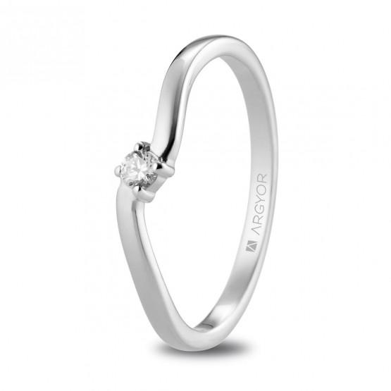 Anillo de diamante en oro blanco estilo solitario (74B0076)