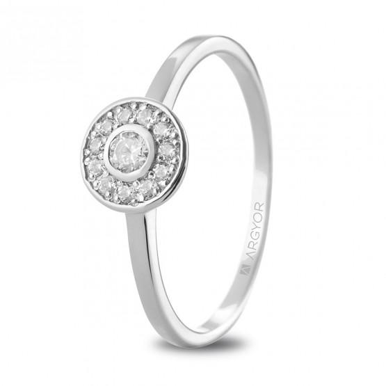 Anillo de oro blanco con diamantes en halo (74B0088)