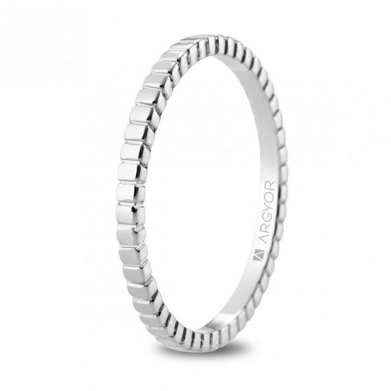 Alianza de boda en oro blanco 18k geométrica (5B18535)