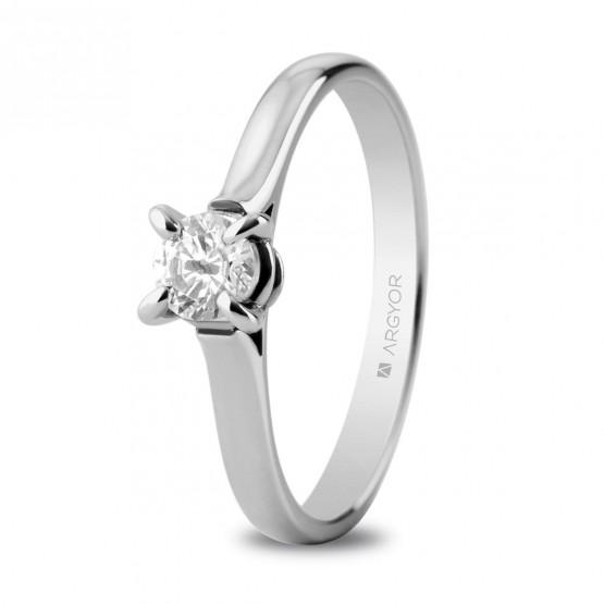 Anillo de platino con 1 diamante 0.34ct (74B0044)