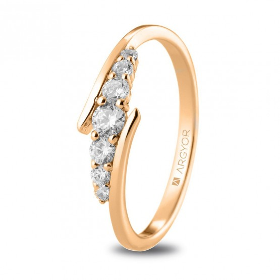 Anillo de diamantes 0.28ct en oro 18k rosa (74R0074)