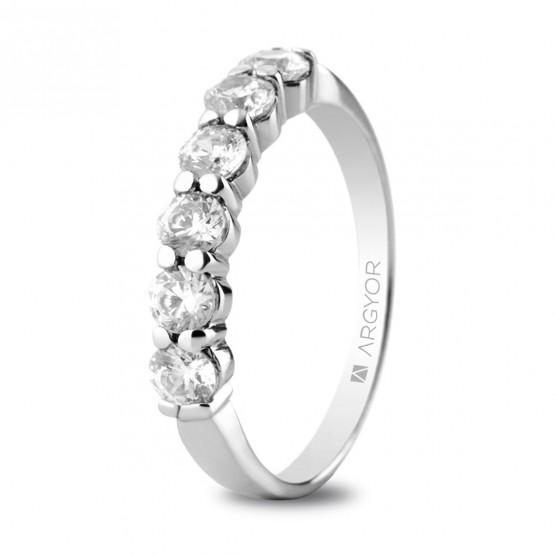 Anillo de compromiso de platino con 6 diamantes 0.60ct (74B0037)