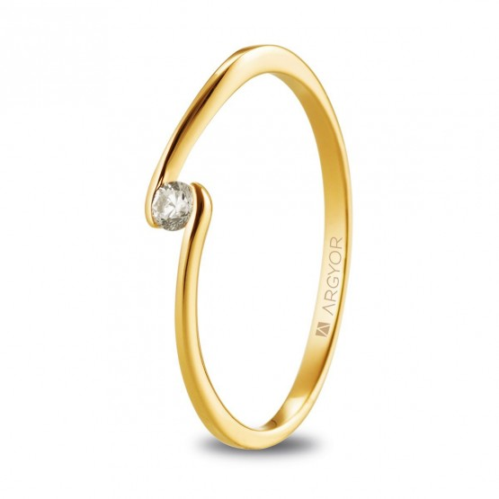 Anillo solitario de oro amarillo con diamante 0.06ct (74A0085)