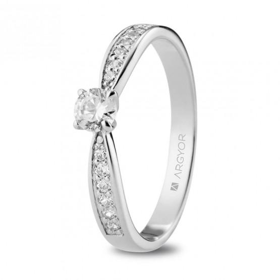 Anillo de Compromiso de platino con diamantes (74B0108)