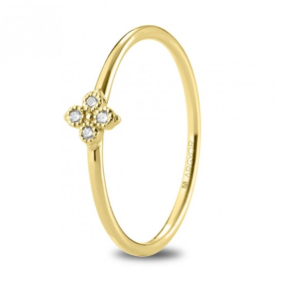 Anillo de oro amarillo con 4 diamantes 0.04ct (74A0093)