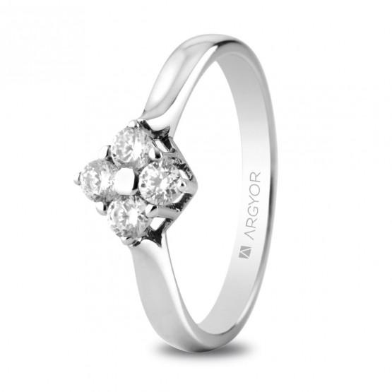 Anillo de compromiso oro blanco y 4 diamantes 0,30ct (74B0042)