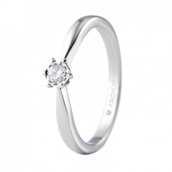 Anillo de compromiso oro blanco con 1 diamante 0.14 ct (74B0514)
