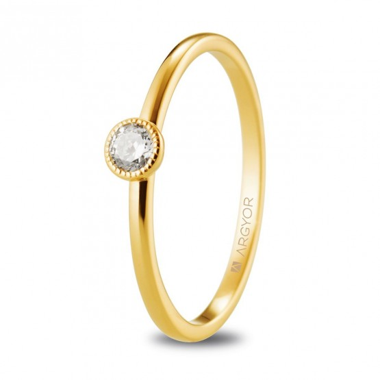 Anillo de oro amarillo solitario con diamante 0.15ct (74A0078)