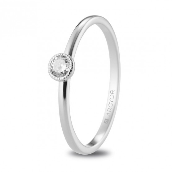 Anillo de pedida de platino con diamante 0.15ct (74B0078)