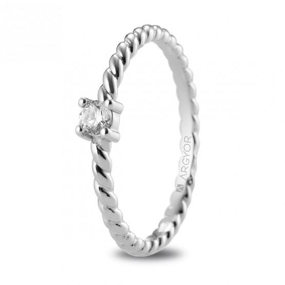 Anillo de platino trenzado con diamante 0.10ct (74B0081)