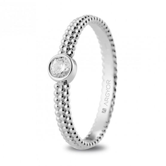 Anillo de platino con diamante y diseño perlado (74B0075)