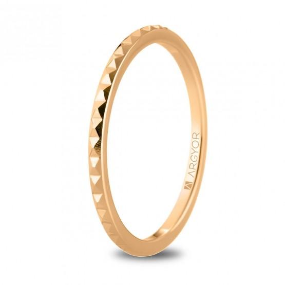 Alianza de boda en oro rosa 18k tachuelas (5R16536)