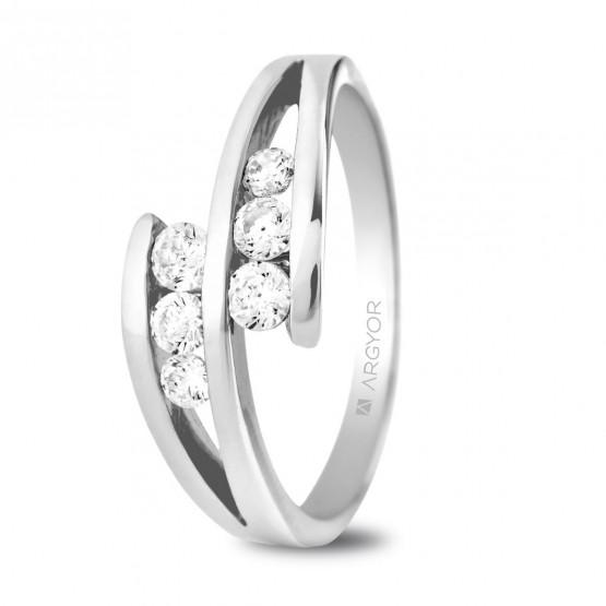 Anillo de compromiso oro blanco 6 diamantes 0.352ct (74B0036)