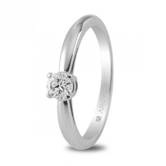 Anillo de platino con diamante 0.16ct (74B0010)