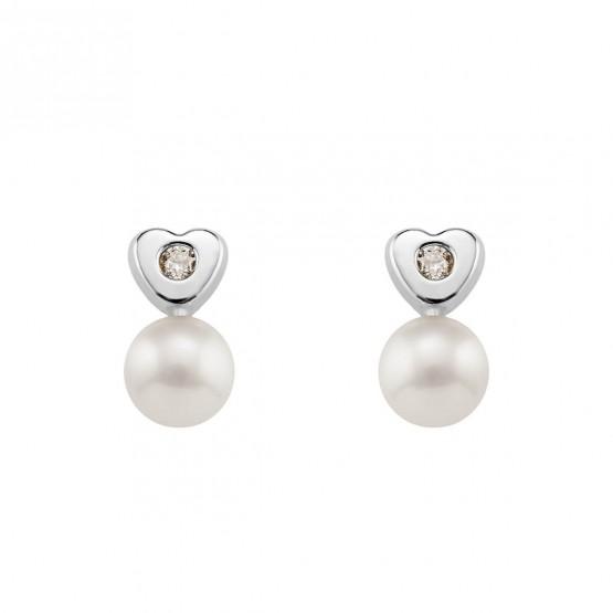 Pendientes para Bebé blancos Perlas y Diamantes (0316441B)