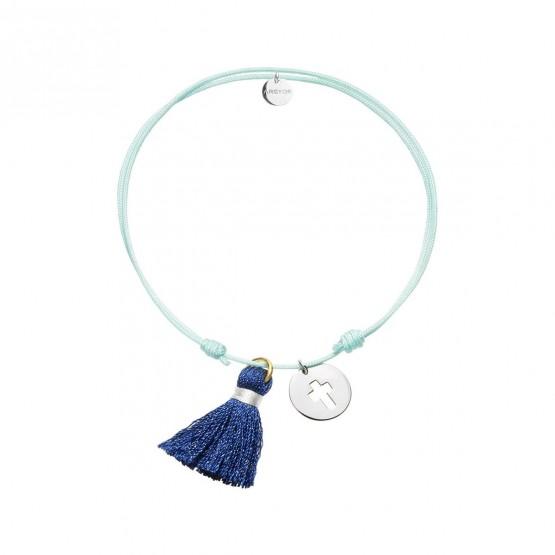 Pulsera Nylon colgante estrella plata con pompón Azul (4B8307504)
