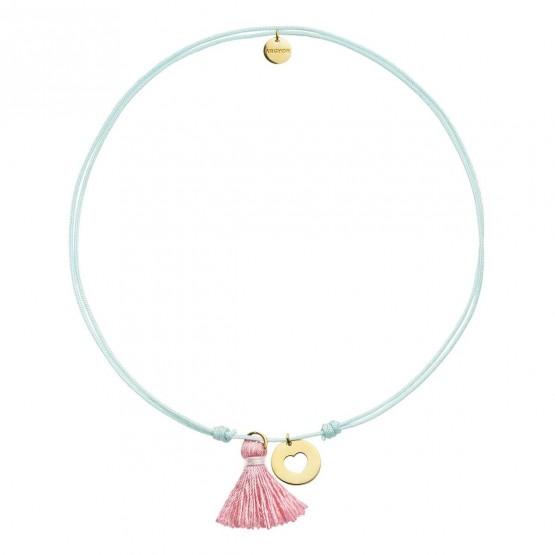 Gargantilla Nylon Azul Estrella plata dorada y Pompón Rosa (3A8307502)