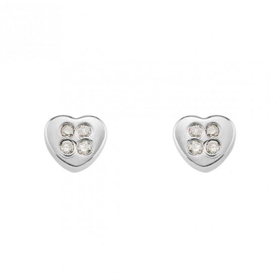 Pendientes de bebé de oro blanco con diamantes (0316301B)