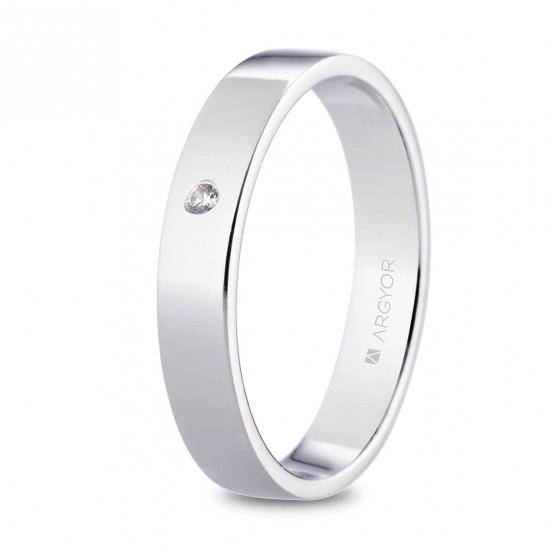 Alianza de platino plana y diamante 4mm (05930140D)