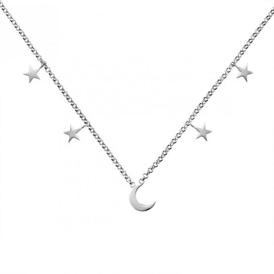 Collar de oro blanco 18k Luna y Estrellas (3B8307300A)