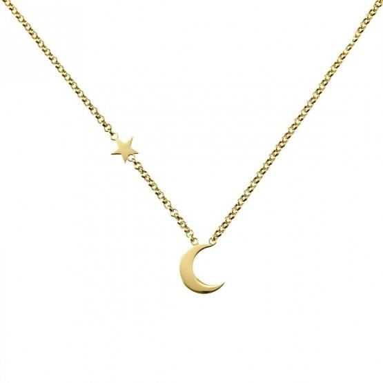 Collar de oro amarillo 18k Luna y Estrella (3A8307300B)