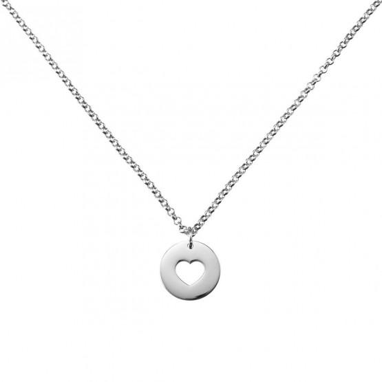 Collar de Oro blanco con Corazón calado (3B8307308)