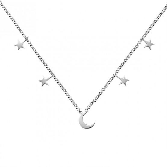 lo último dde53 0d174 Collar de plata de ley 925 Luna y Estrellas (3B8307300A)
