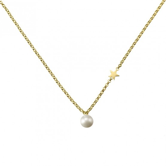 Collar de plata 925 dorada con Perla y Estrella (3A8307301)